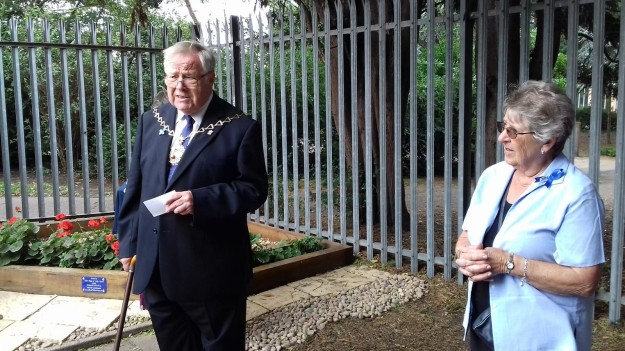 The Mayor Cllr Mick Hayes with Liz McDermott, Chair of The Friends of the Pet Cemetery