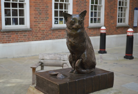 Seek out Hodge in the courtyard outside Dr. Johnson's House, 17 Gough Square, London EC4A 3DE. (Picture: Jackie Buckle).