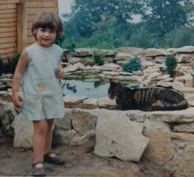 And at home with our own cat Dandy in 1968. Notice the cat pockets on the dress!