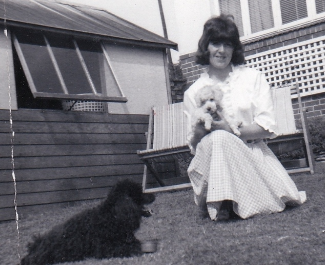 Mother in 1958 with poodles - Mandy and pup Cindy
