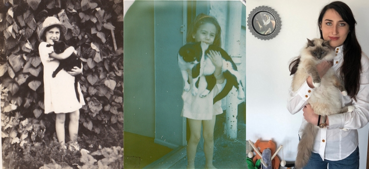 Three generations of cat appreciation from 1932 - 2020!
