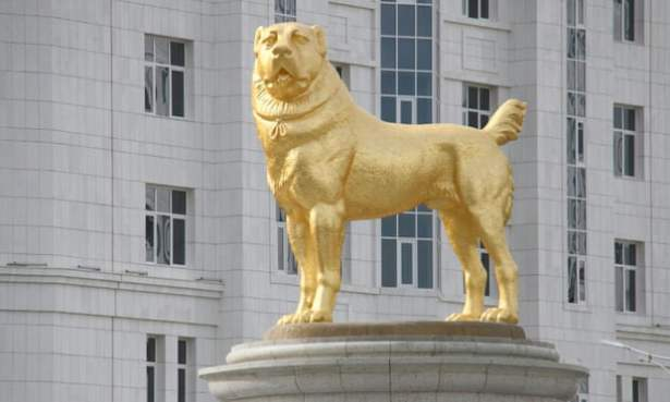 The ruler of Turkmenistan has unveiled a 50ft golden statue of his favourite dog breed in the country's capital.